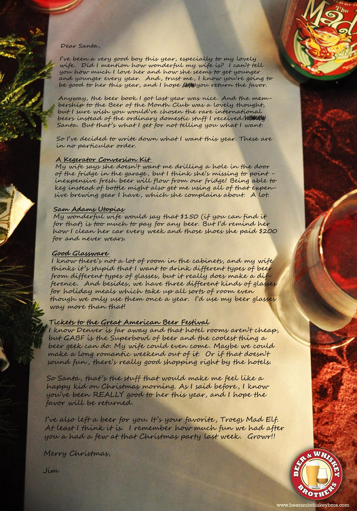 A beer geeks letter to santa beer whiskey brothers click for a close up spiritdancerdesigns Image collections